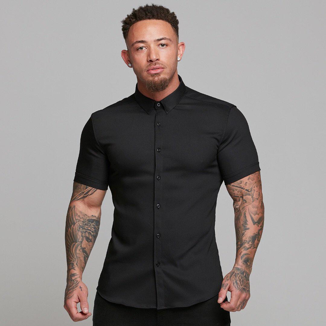 肌肉男士短袖夏季新品型男运动衬衫(非品牌)
