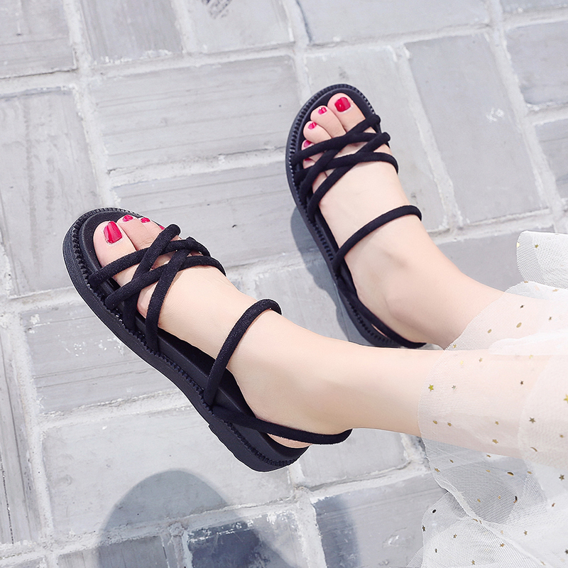 Summer 2020 new two wear net red ins tide beach Roman student shoes flat bottoms and fairy sandals