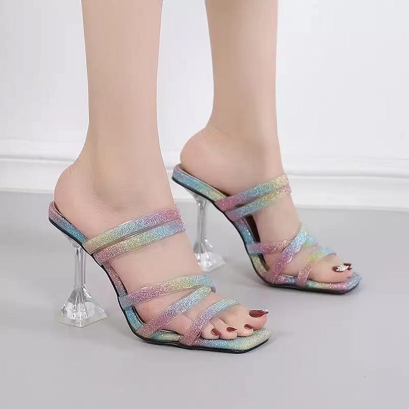 跨境欧美2021新款时尚彩色带露趾凉拖鞋外穿方头拖鞋细跟高跟鞋女