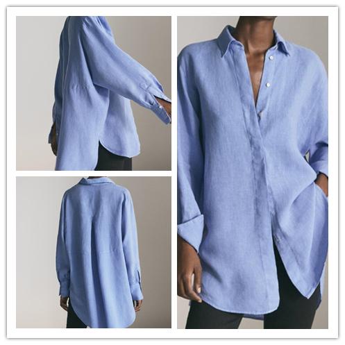 西班牙 现货 MD女装 2019新棉麻加大版罩衫宽松BF风休闲长袖上衣(用582元券)