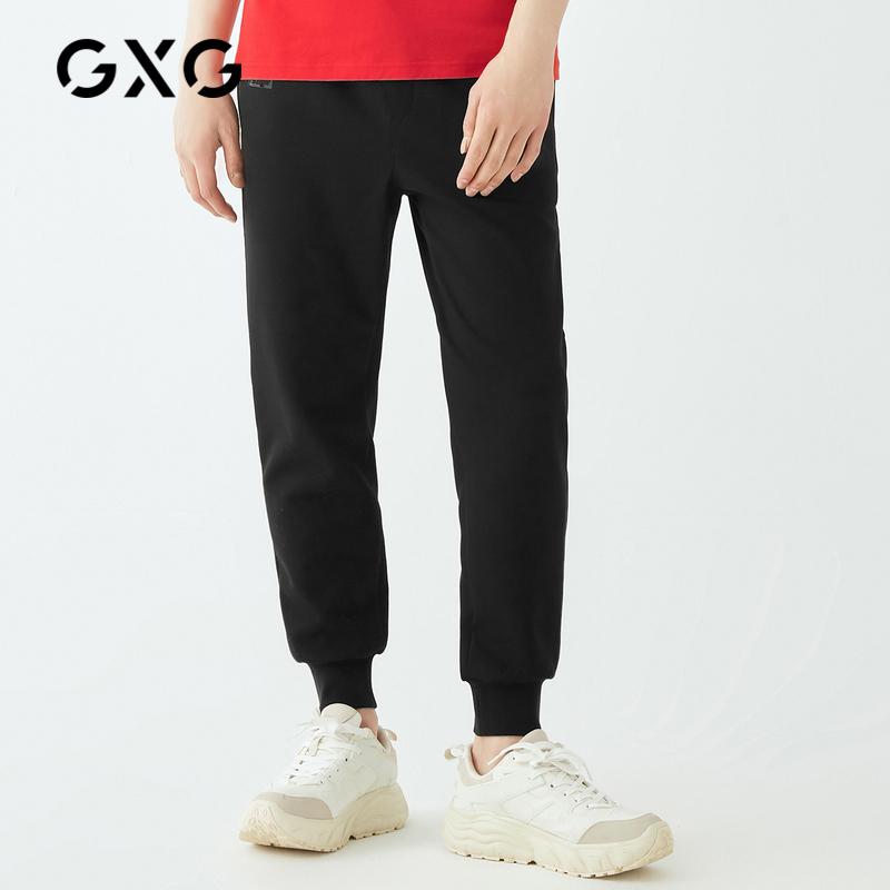 GXG奥莱清仓 春季潮流黑色束腿收口休闲运动针织长裤男#GY102582A图片