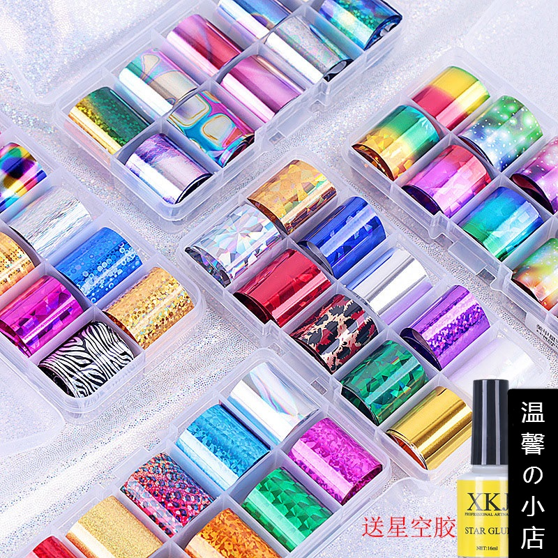Hot selling Japanese and Korean star paper manicure Glass Sticker 10 grid set colorful laser shell transfer paper tool