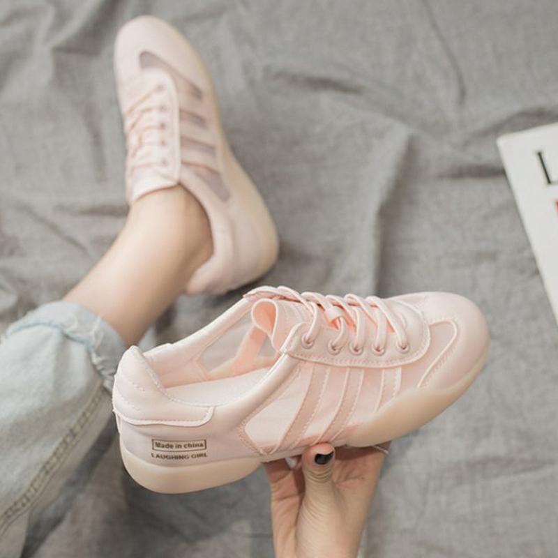 女鞋2020款款休闲鞋网鞋果冻底彩色n网布纱网平底透气低帮板鞋潮
