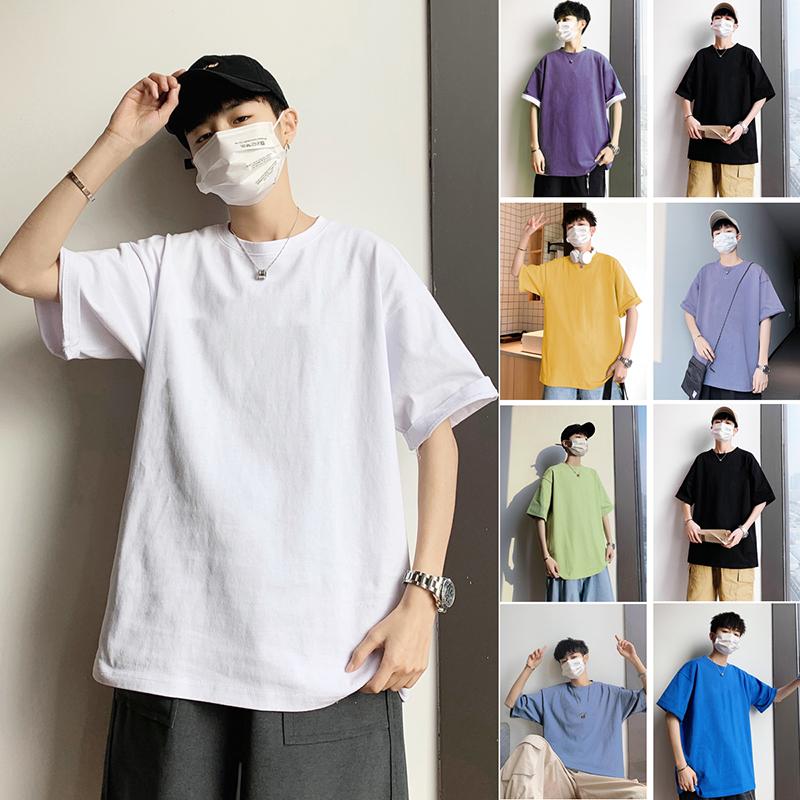 Mens short sleeve T-shirt wash trend solid color versatile 2020 summer new round neck loose cotton T-shirt for men