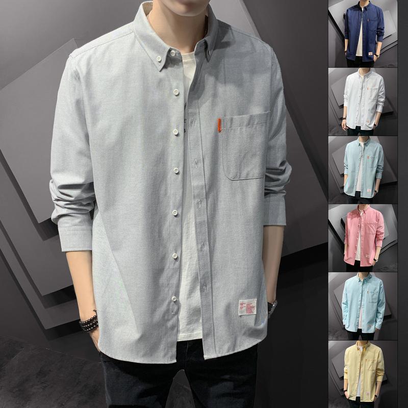 衬衫男2020新款宽松长袖外套上衣韩版潮流休闲简约牛津纺纯色衬衫