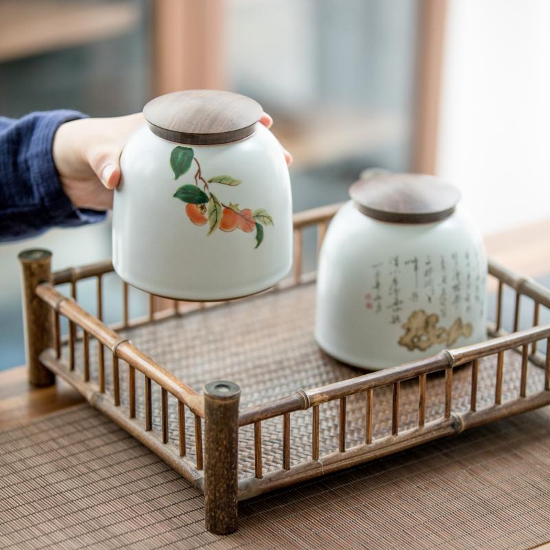 草木祠汝窑茶仓存储罐功夫茶具白瓷