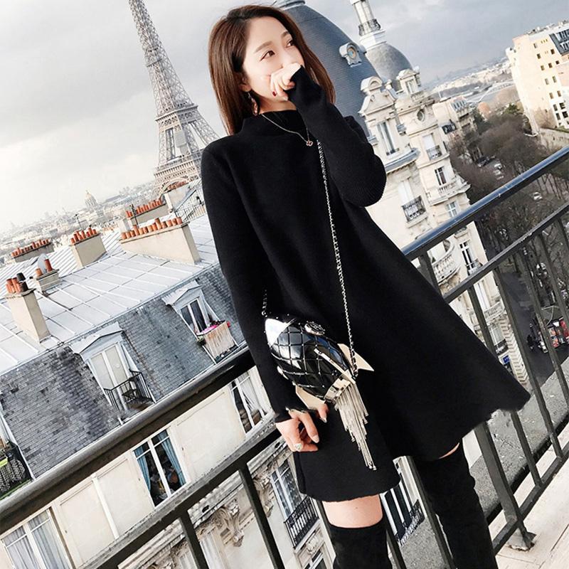 欧洲站HG桔梗裙娃娃裙女装毛衣裙小黑裙法式少女茶歇裙针织连衣裙