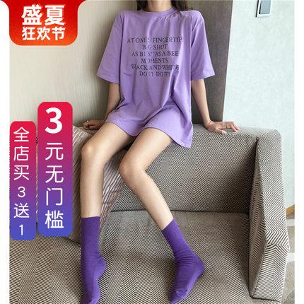 网红袜子同款紫色韩国夏薄款堆堆袜