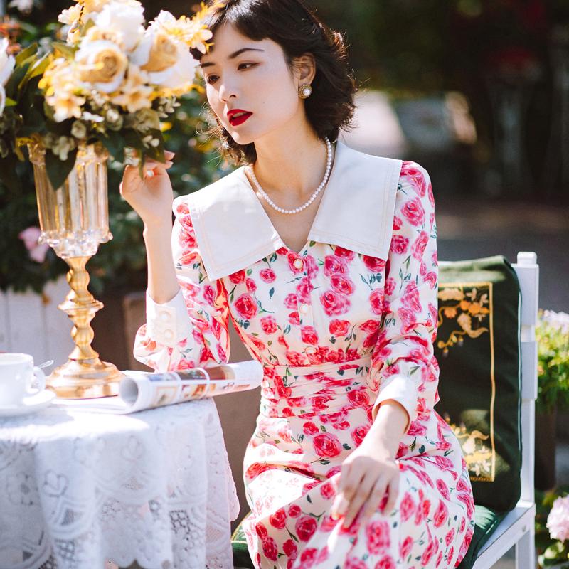 早春新款花园派对玫瑰印花翻领复古蕾丝连衣裙
