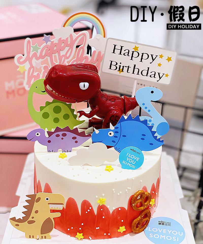烘焙装饰霸王龙可动摆件恐龙装饰甜品台蛋糕摆件生日派对蛋糕装饰