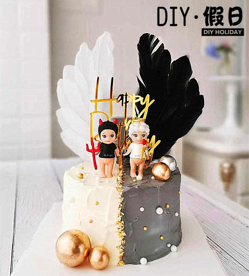 Party birthday cake baking decoration devil angel Unicorn bee cat ornament Angel Doll pair