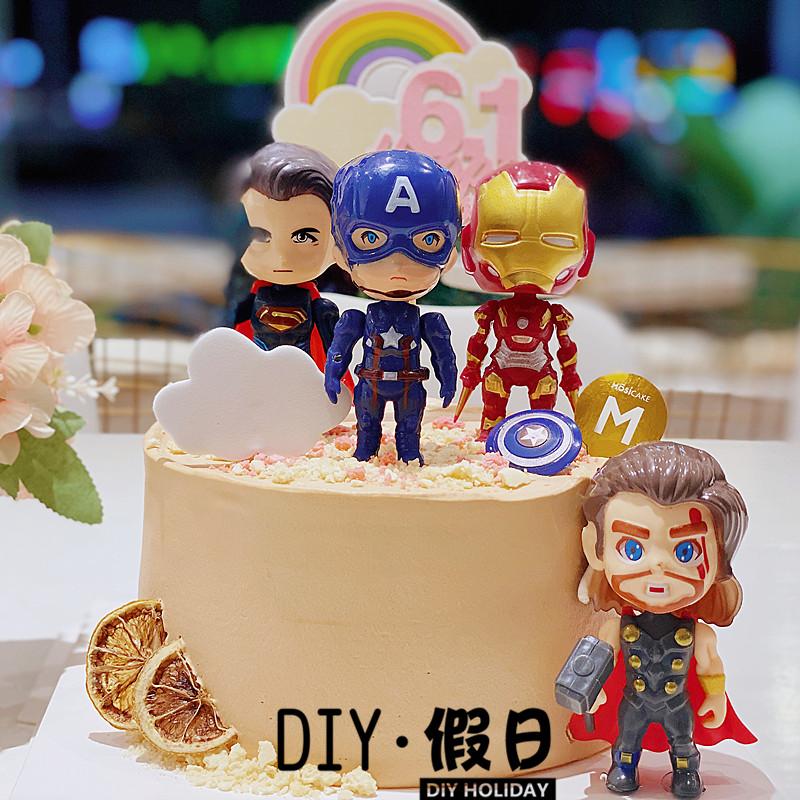 烘焙蛋糕装饰复联英雄系列正义网红玩偶手办摆件生日装扮