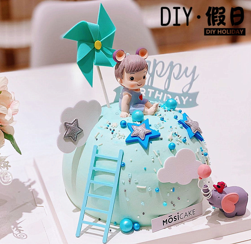 Baked cake decoration Prince Allen, Princess Elle, boy and girl year old balloon baby elephant resin ornament