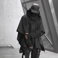 WHYWORKS19AW賽博朋克機能斗篷暗黑忍者披肩戶外防風雨雪風衣外套