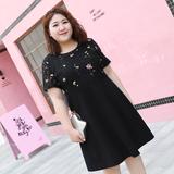 [新品促销]甜觅大码女装2018胖mm夏装胖妹妹200斤洋气韩版显瘦遮肚子连衣裙