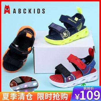 abckids夏季男童亮灯发光凉鞋童鞋