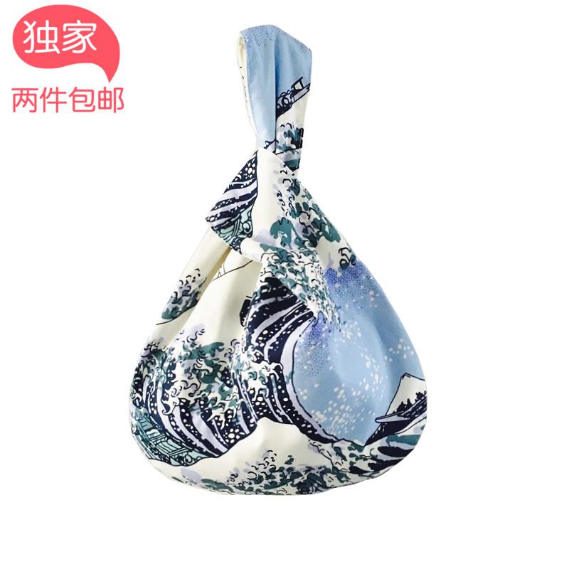 原创手工布包手拎包水波纹棉布包特色小手提包 和风日系 文艺复古
