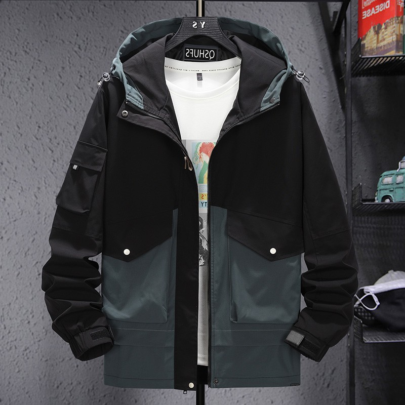 Fashion big size fat jacket for men fattening up trendy fat man loose and versatile work coat extra large