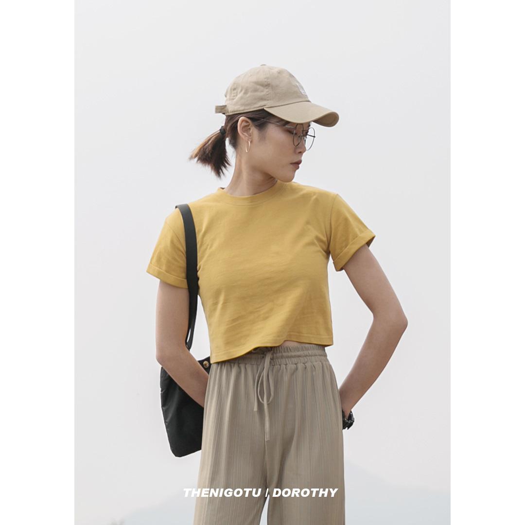 韩版修身短款女2019新款夏黑色t恤