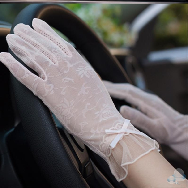 Cycling foreign style Riding School Driving Gloves female sunscreen lace versatile outdoor sunshade summer white touch screen