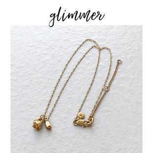 美國熱牌madewell外貿y單銅鍍金花朵復古項鍊ins風優雅少女鎖骨鏈
