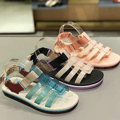 2020夏季新款巴西梅丽莎女鞋melissa罗马松糕凉鞋 帆布拼接平底鞋