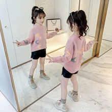 Girls sweater new style autumn and winter children's wear children sweater children mink Plush knitted sweater