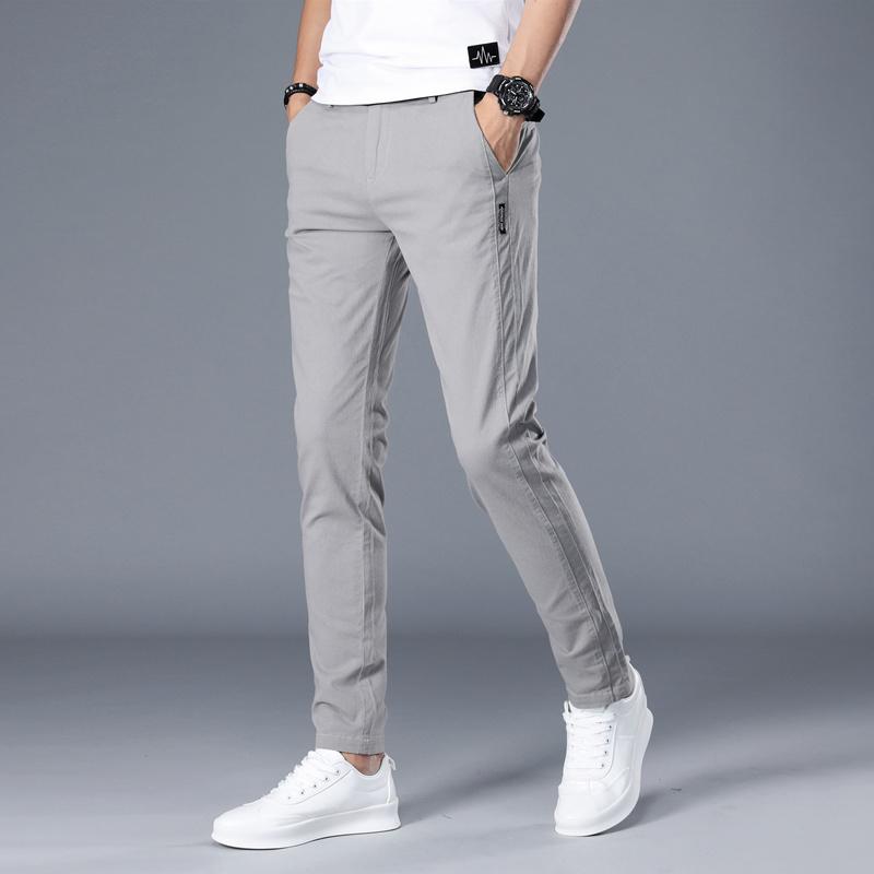 Spring and autumn new pants mens pants business casual pants mens elastic straight tube loose cotton thin fit versatile pants mens pants