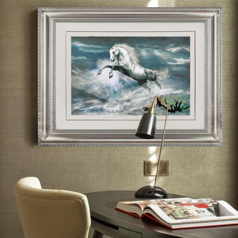 苏绣成品挂画苏州刺绣画办公室壁画马装饰画新中式墙画书房画装饰