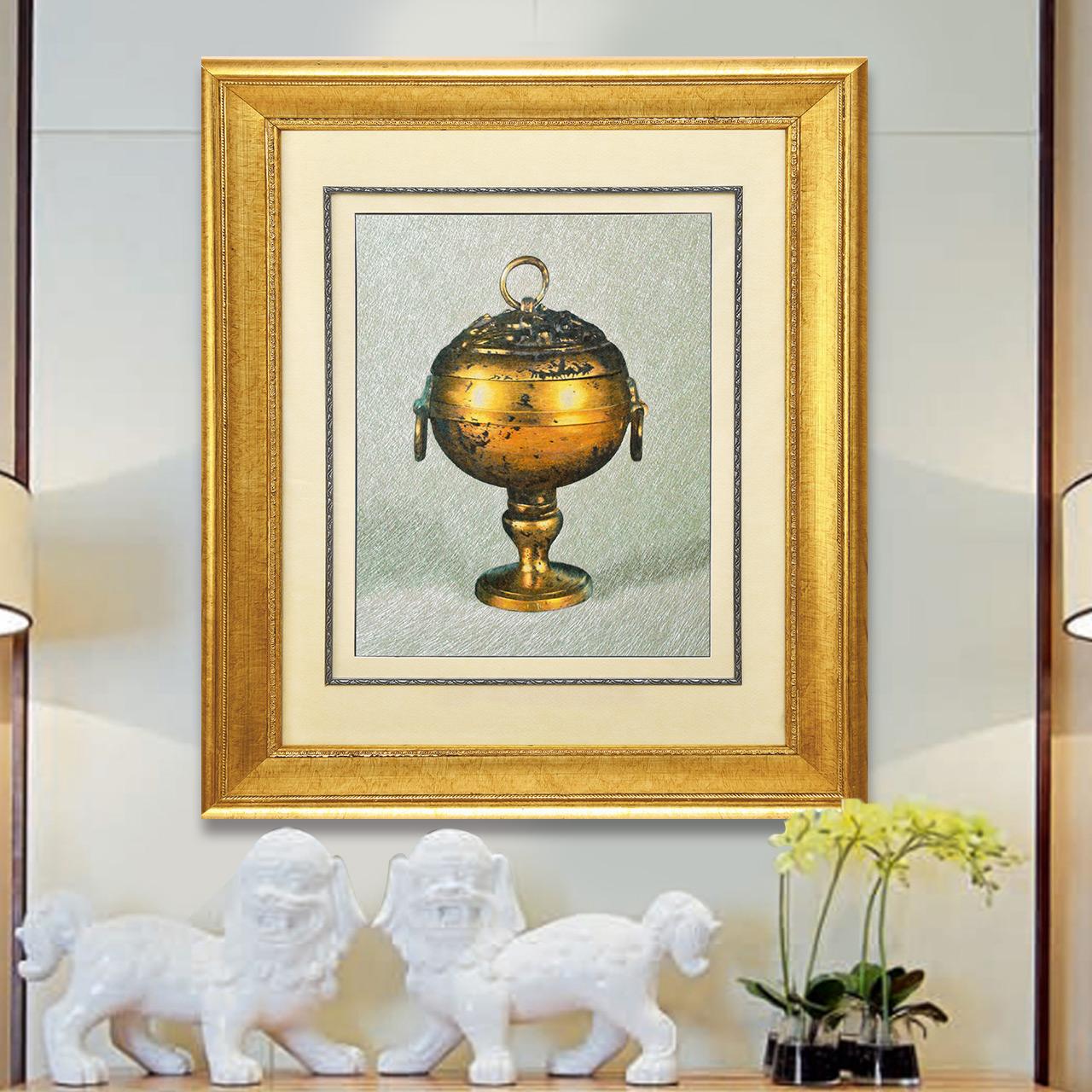 苏绣成品挂画玄关客厅纯手工刺绣艺术壁画个性创意书房装饰画香炉