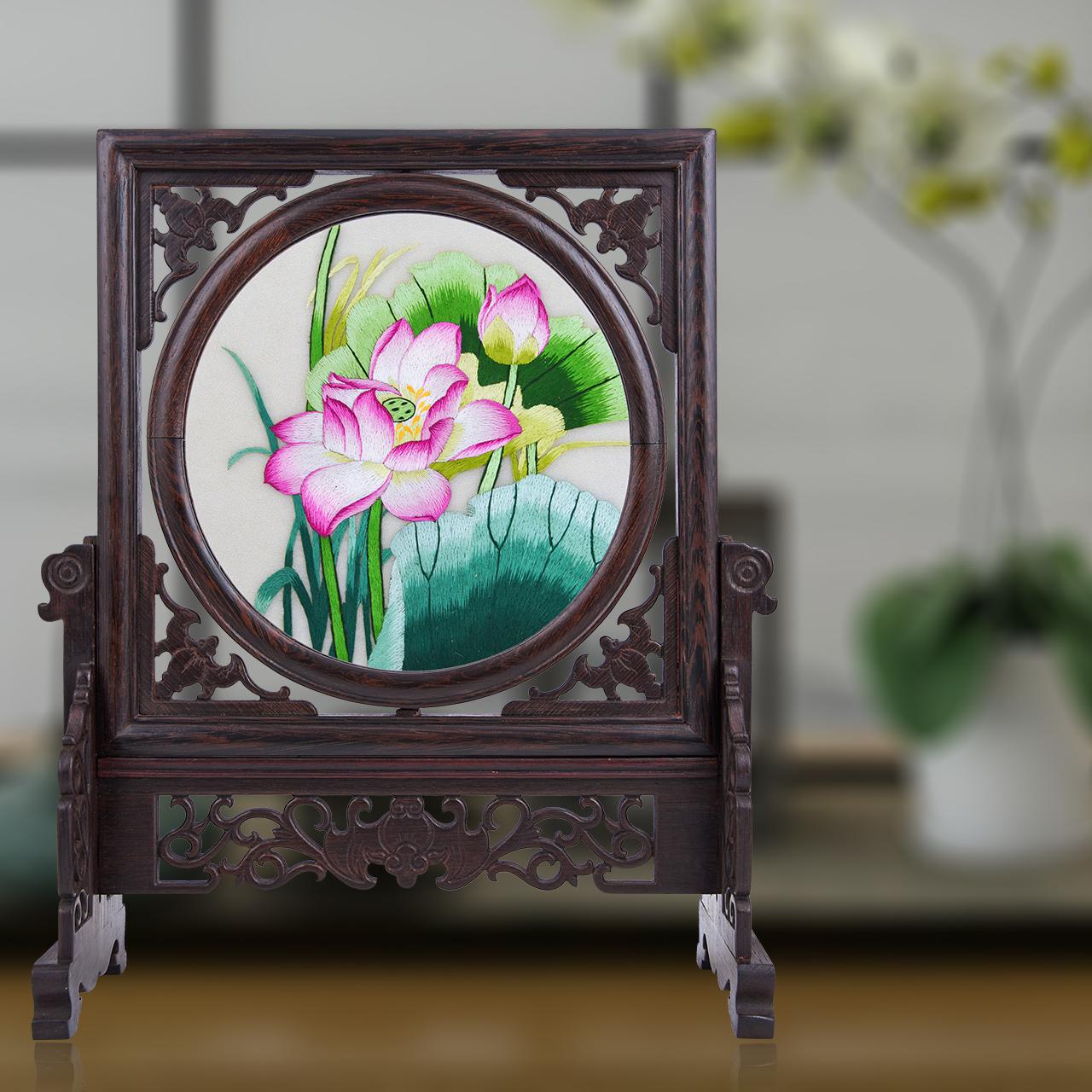 苏州刺绣双面绣装饰房间的小饰品摆件工艺品中国特色礼品送老外