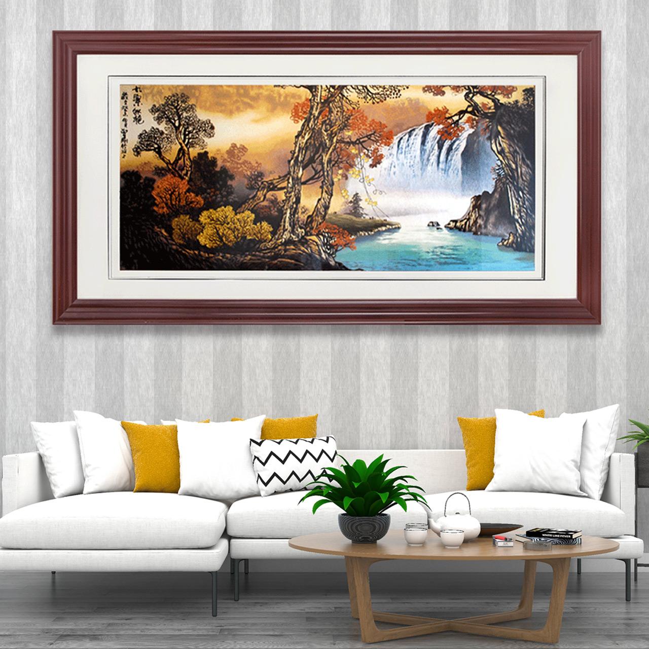装饰画客厅现代中国风九寨沟大型壁画背景墙办公室墙画山水挂画