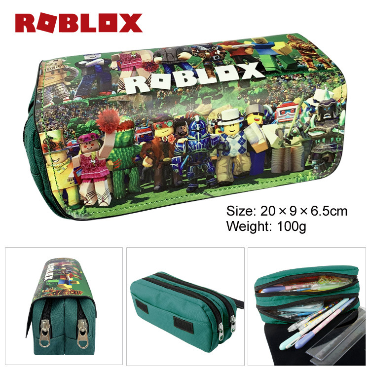 Roblox virtual world double layer canvas zipper large capacity pencil case stationery box Student Wallet supplies