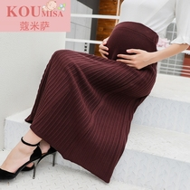X103 Pregnant woman skirt autumn and winter female medium long 2018 new Korean version of belly thickened pleated pregnant woman skirt bottom