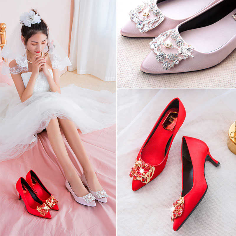 Diamond Xiuhe shoes red thin heel high heel wedding shoes bridal shoes womens silk satin small size 33 Bridesmaid Wedding dress red shoes