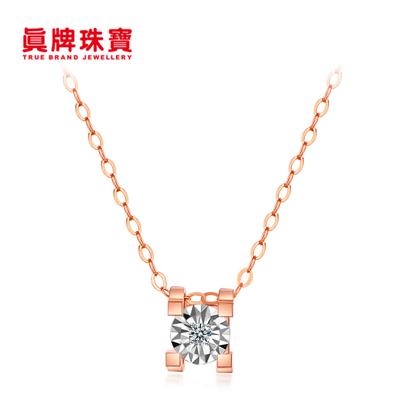 Real brand jewelry Gold 18k gold color gold inlaid with Diamond Classic Tauren Horn Pendant Necklace super Diamond Fashion Chain