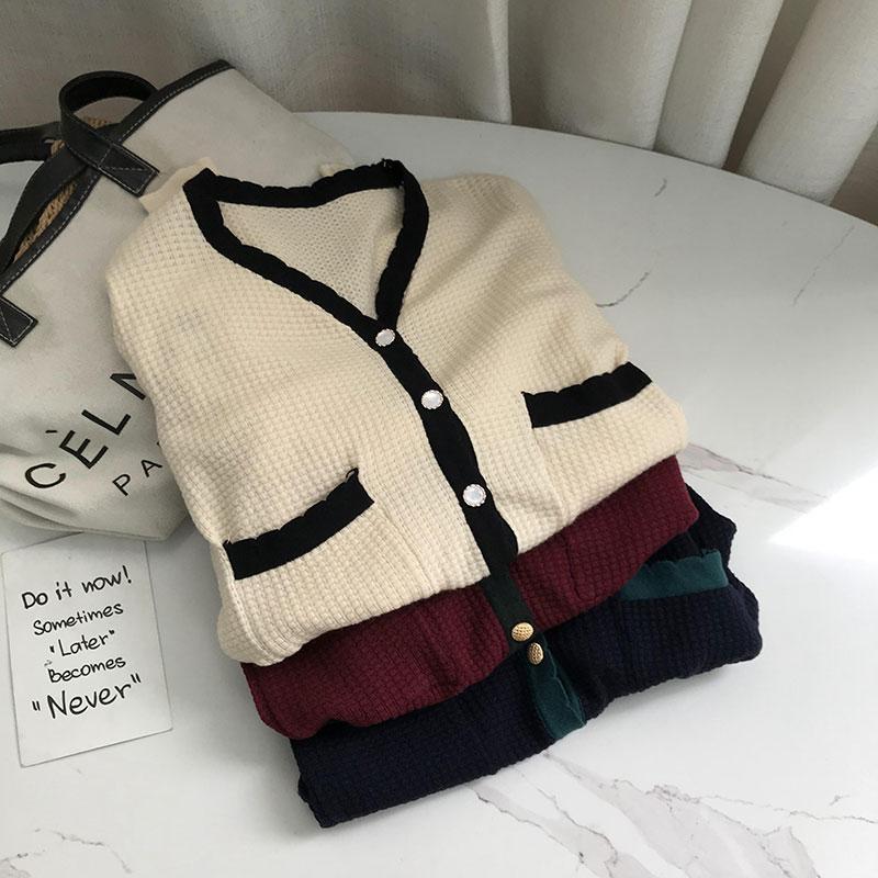 单排扣宽松慵懒风纯色直筒毛衣女春季新款韩版女装 C#21