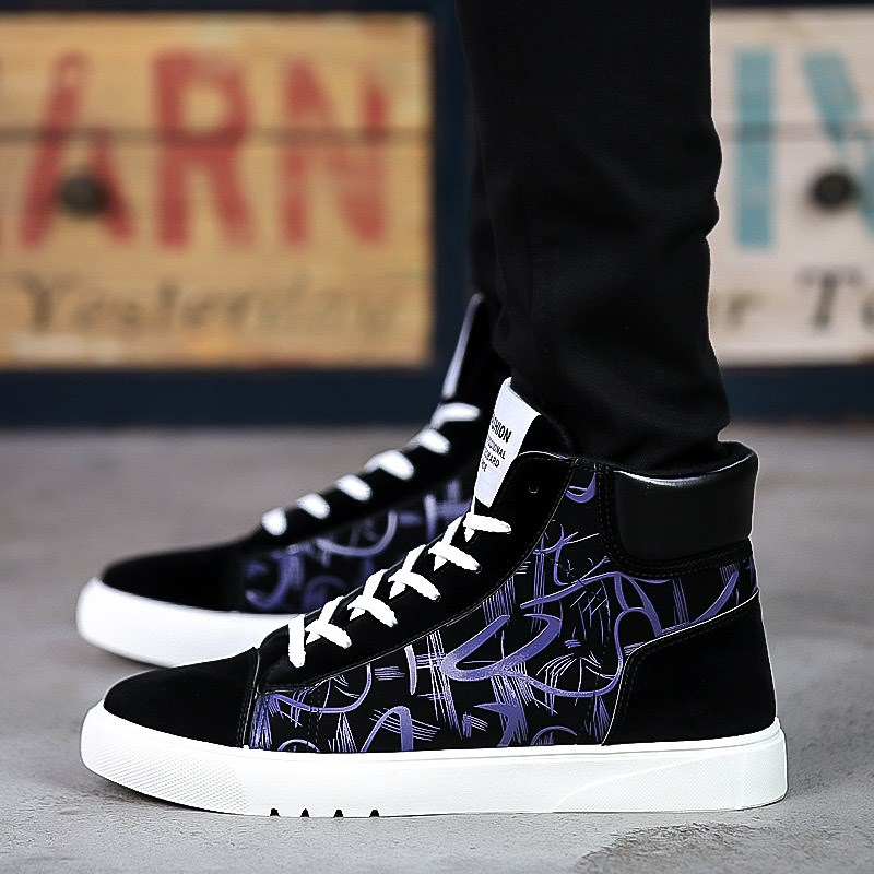 Autumn and winter student board shoes non mainstream versatile mens high top shoes mens Korean mens shoes fashionable canvas shoes