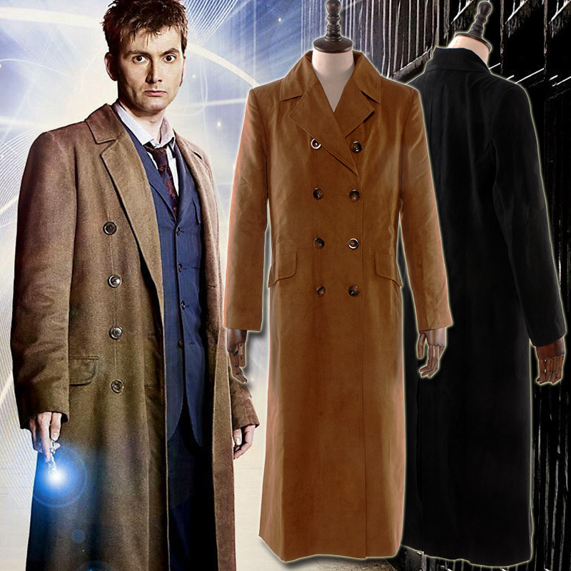 Doctor who coffee black suede coffee wool one piece coat Cosplay long coat