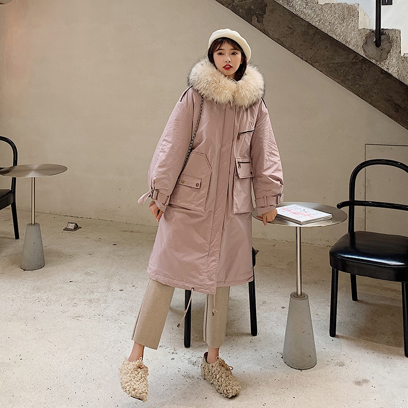 A fairy cotton padded woman 2019 new medium and long Hong Kong Style knee length bread suit thickened cotton coat ins winter coat