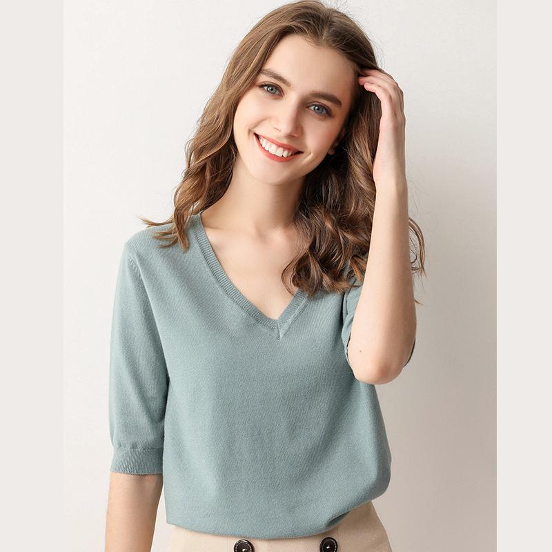 满385.00元可用346元优惠券春装薄款五分袖针织衫女短袖t恤