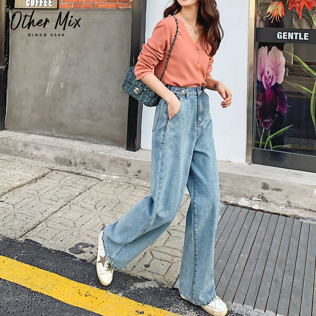 Seven grid light color jeans women's high waist new trend spring 2020 Korean loose wide leg straight tube long pants