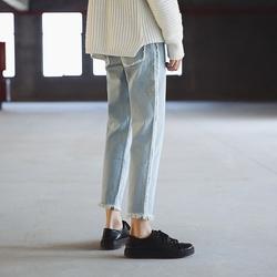 2018 春夏浅色毛边九分裤 男 牛仔裤 N205-P78(不低于88)