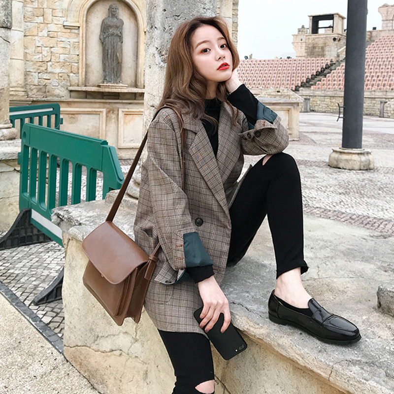 Spring and autumn 2020 new ins Plaid suit Korean student loose retro check chic Blazer