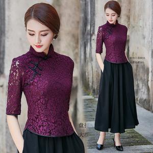 短款时尚改良旗袍上衣蕾丝春夏新款显瘦中式盘扣女士套装唐装礼服