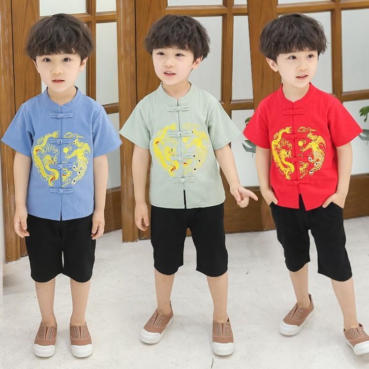 男童中国风男宝宝民族风棉麻汉服(非品牌)