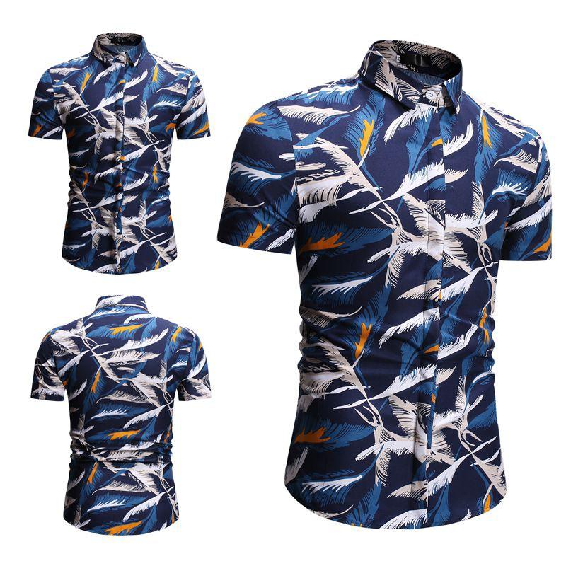 个性潮款夏季新品男士青少年学生度假旅游海滩夏威夷修身休闲短袖