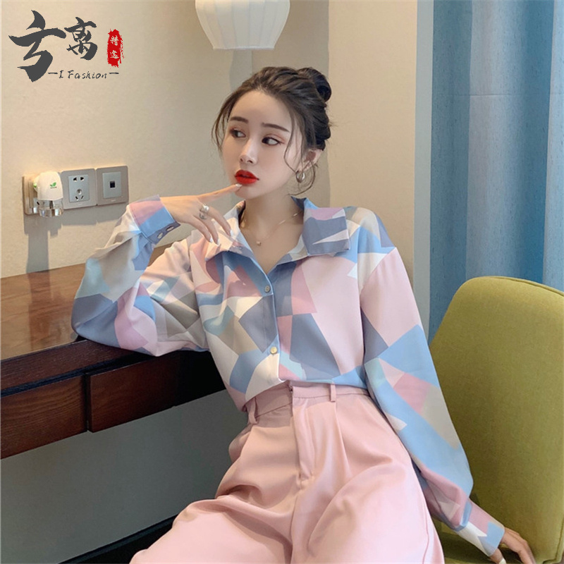 Spring 2020 new languid style retro Hong Kong style contrast color geometric pattern printed long sleeve shirt womens Fashion Top