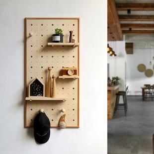 木质洞洞板 隔板收纳展示架 饰玄关壁挂置物架定制 北欧室内墙上装