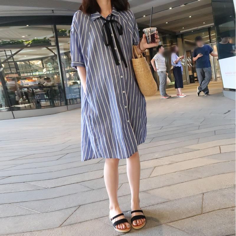 孕妇夏装连衣裙宽松衬衫裙2020新款中长款长裙子时尚孕妇装潮妈图片
